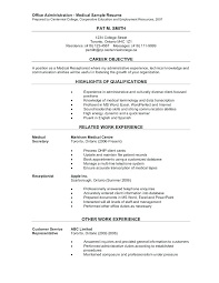 Sample Resume For Medical Receptionist Fascinating Resume Sample Fascinating Receptionist Resume Examples