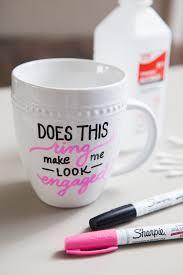 diy sharpie paint pen engagement gift mug