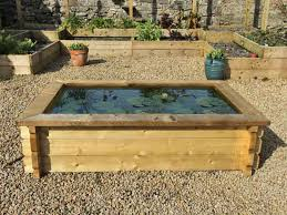 timber raised garden pond