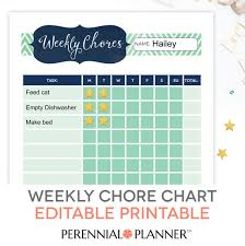 weekly reward chart printable chore chart printable editable pdf kids weekly reward task