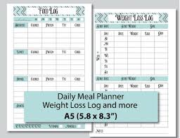 Food Journal Filofax Insert Meal Planner Weight Loss Log Etsy