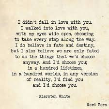 Quotes About Choosing Love Best I Didn't Fall In Love With You I Walked In With My Eyes Wide Open