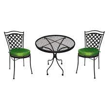 green cushions wrought iron bistro set