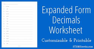Expanded Form Decimals Worksheet | STEM Sheets