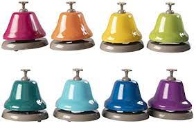 Bells work just like the bell you might find at a front desk. Amazon Com Fat Brain Toys Rainbow Music Desk Bells Music For Ages 3 To 7 Toys Games