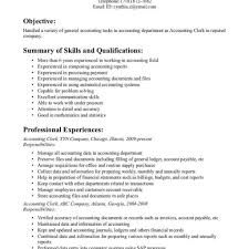 Accounting Assistant Job Description For Resume Office Clerk Resume Pdf Sample Customer Service For Accounting 66