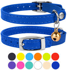 leather cat collar breakaway safety collars elastic strap for small cats kitten with bell purple com