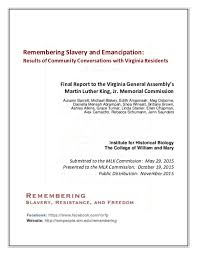 PDF) Remembering Slavery and Emancipation: Results of Community  Conversations with Virginia Residents: Final Report to the Virginia General  Assembly's Martin Luther King, Jr. Memorial Commission | Autumn Barrett -  Academia.edu