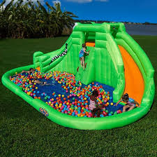 Amazoncom Magic Time Twin Peaks Kids Inflatable Splash Pool Water Slides Backyard