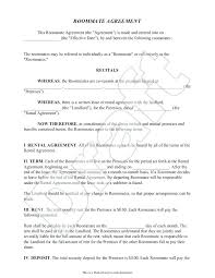 Roommate Contract Template Printable Sample Agreement Form Big Bang ...
