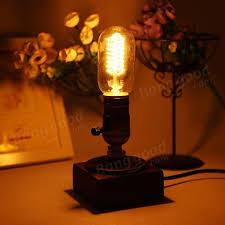 edison table lamp vintage home lighting. Loft Vintage T45 Edison Bulb Table Lamp Water Pipe Light Home Bar Decor Lighting L