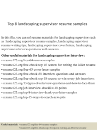 Landscaping Resume Beauteous Top 28 Landscaping Supervisor Resume Samples