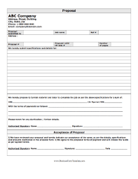Job Proposal Form Proposal Form Template