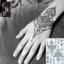 Henna Pattern Extraordinary BH48 48 Piece Traditional Black Henna Tattoo With Triangle And