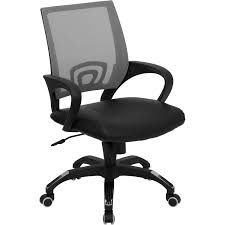 Mid Back Super Mesh Office Chair With Black Leather Seat