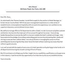 Sample Cover Letter For Hospitality Industry Application Letter Sample For Hotel Manager Hotel Director