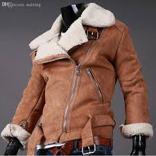 fall winter lamb shearling mens motorcycle leather jacket suede fake lined short faux fur coats for men black brown from china dhgate com