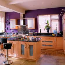 Great Ideas of Purple Wall with Ceiling Lighting and Small Cabinet