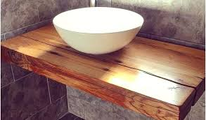 floating bathroom sink a our shelf with vessel bowl handcrafted wood under