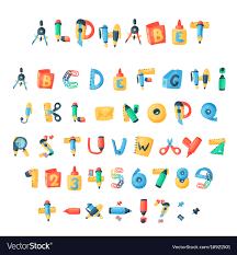 Letters Stationery Alphabet Stationery Letters Abc Font Royalty Free Vector