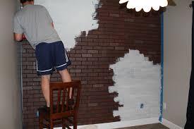 cute design faux bricks wall interior ideas features wooden unusual feature dark brown white colors