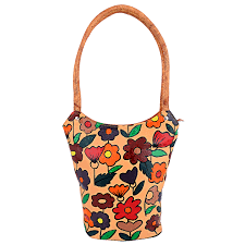 zint hand painted leather brown shoulder bag with multi colored flowers