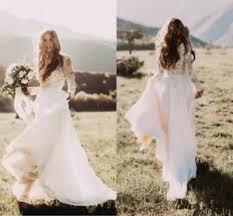 flowy wedding dresses. Long Sleeves Flowy Chiffon Lace Boho Wedding Dresses Country Bridal
