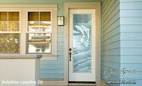 etched glass exterior doors beach coastal decor dolphins leaping sans for front door curtains oval entry beveled glass front door