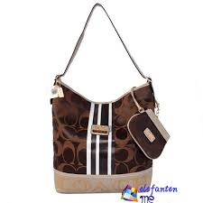 Coach Signature Medium Shoulder Bags In Coffee
