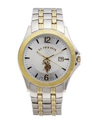 u s polo assn usc80001 two tone watch in metallic for men lyst gallery