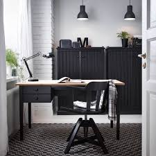 home office home office design office. Home Office Design With ARKELSTORP Desk And Sideboard In Black Wood, FEODOR Swivel S