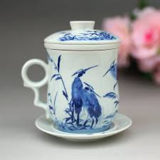 office cups. Cups Filter, Jingdezhen Ceramic Bone China Teacup With Lid, Office Cup, Creative Cup Packaged Four-piece Suit