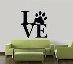 wall vinyl e love paw print dog pet decal wall vinyl decor sticker home cat dog wall vinyl e wall decal
