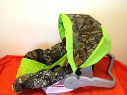 camouflage car seat mossy oak with lime green and deer infant car seat cover and canopy