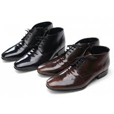 mens wrinkles increase height insole black cow leather zip lace up ankle boots elevator dress