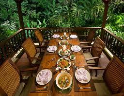 Indonesian Table Setting Quiet Ubud Accommodation In The Jungle Villa Alamanda