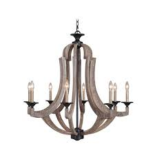 craftmade winton weathered pine and bronze eight light chandelier