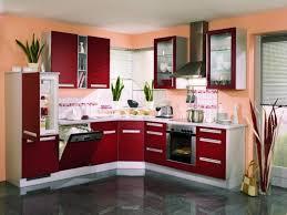 fun kitchen decorating ideas using modern interior with grey ceramic floor and maroon kitchen cabinet using