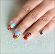 Cute Spring Nails ~ Mint Green Gold and Red Flower Nail Art - Love ...
