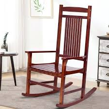 costway solid wood porch rocking chair rocker indoor outdoor wooden porch rocking chairs wooden outdoor