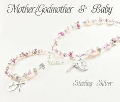 mother mother baby personalized rosary bracelet baptism garland of roses set with sterling silver cross guardian angel