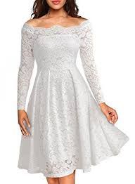 Missmay Womens Vintage Floral Lace Long Sleeve Boat Neck