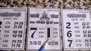 28 03 2018 Kalyan Mumbai Lakshmi Danka Chart Youtube