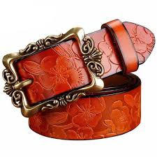 <b>Wide genuine leather</b> woman belt, <b>vintage</b> floral, strap for your jeans ...