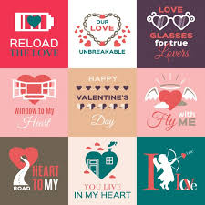 flat valentines day labels free vector