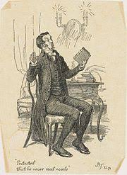 pride and prejudice  illustration by hugh thomson representing mr collins protesting that he never reads novels
