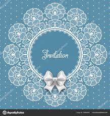 wedding card invitation template filigree lace frame white satin bow stock vector