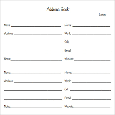 Address Book Template Address Book Template Sample Address Book 9 Documents In Pdf Word
