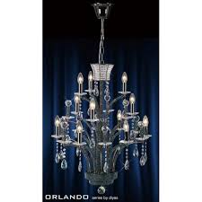 orlando 12 light black chandelier with asfour crystal decoration