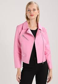 only petite only petite onlsun biker faux leather jacket nia pink xg17947 coat womens